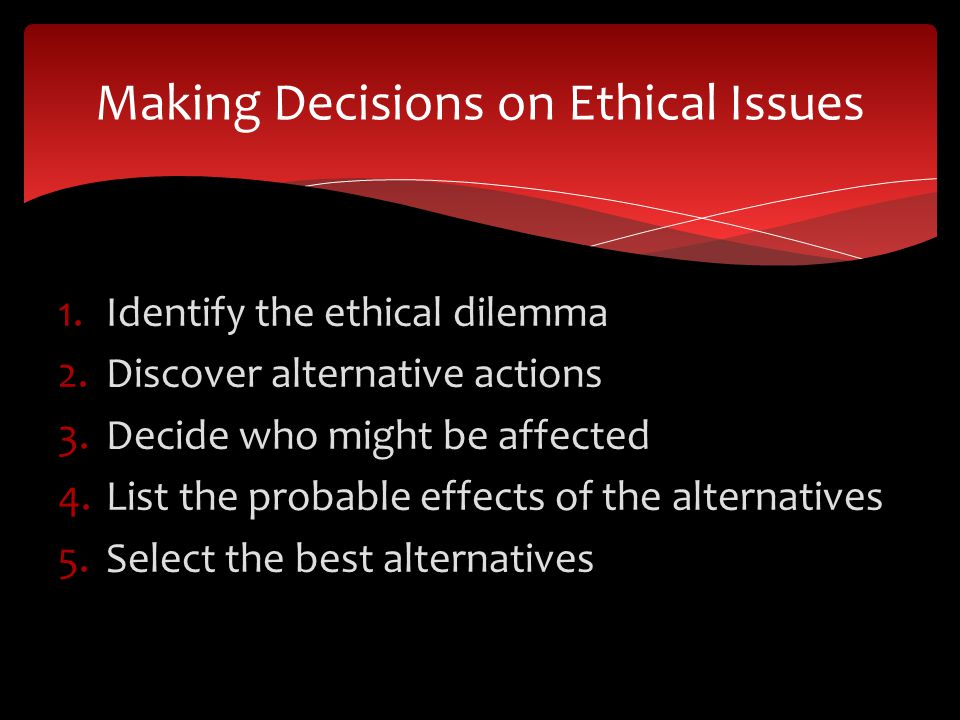 Making Decisions on Ethical Issues