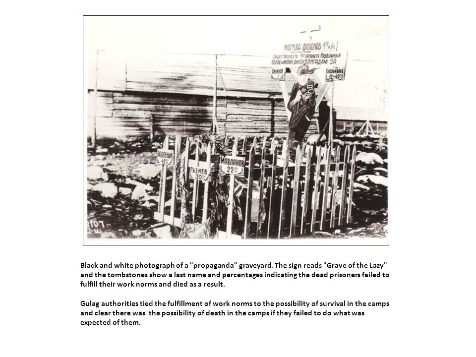 Black and white photograph of a propaganda graveyard