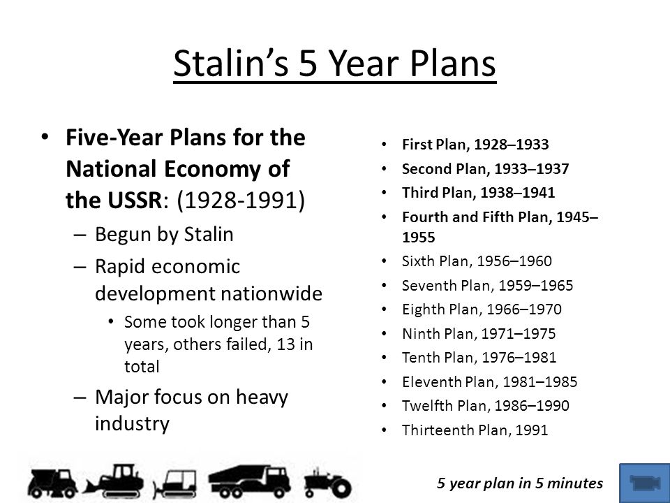 Stalin's 5 Year Plans First Plan, 1928–1933. Second Plan, 1933–1937. Third Plan, 1938–1941. Fourth and Fifth Plan, 1945–1955.