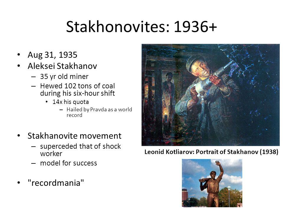 Stakhonovites: 1936+ Aug 31, 1935 Aleksei Stakhanov