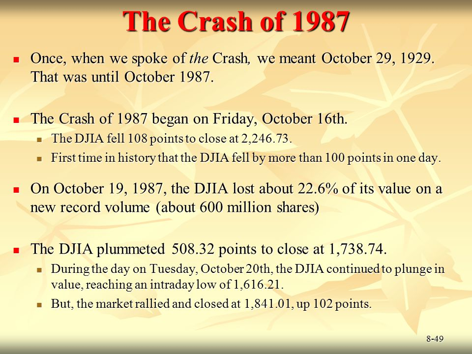 The Crash of 1987 Once, when we spoke of the Crash, we meant October 29, 1929. That was until October 1987.