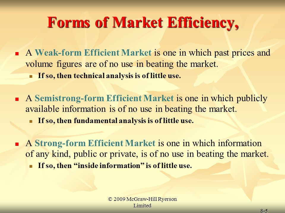 Forms of Market Efficiency,