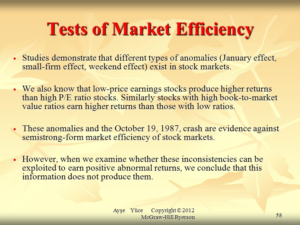 Tests of Market Efficiency