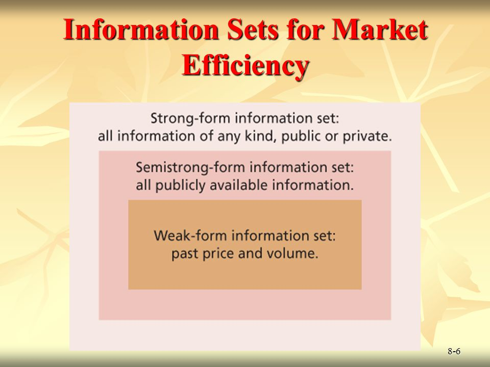 Information Sets for Market Efficiency