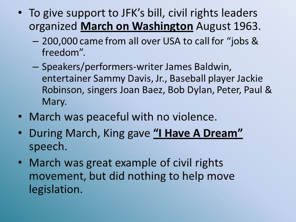 March was peaceful with no violence.