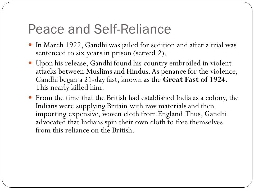 Peace and Self-Reliance