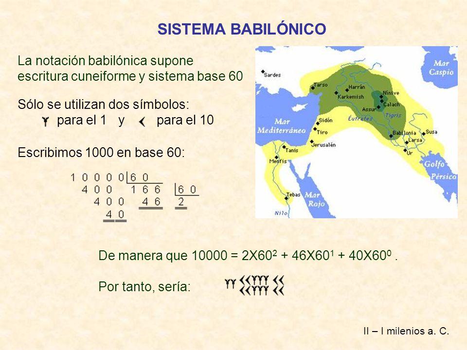 SISTEMA BABILÓNICO La notación babilónica supone escritura cuneiforme y sistema base 60. Sólo se utilizan dos símbolos: