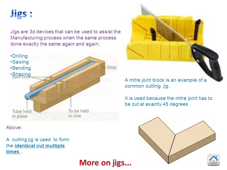 Jigs : Jigs are 3d devices that can be used to assist the. Manufacturing process when the same process done exactly the same again and again: