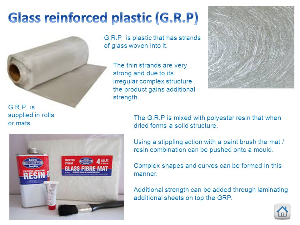 Glass reinforced plastic (G.R.P)