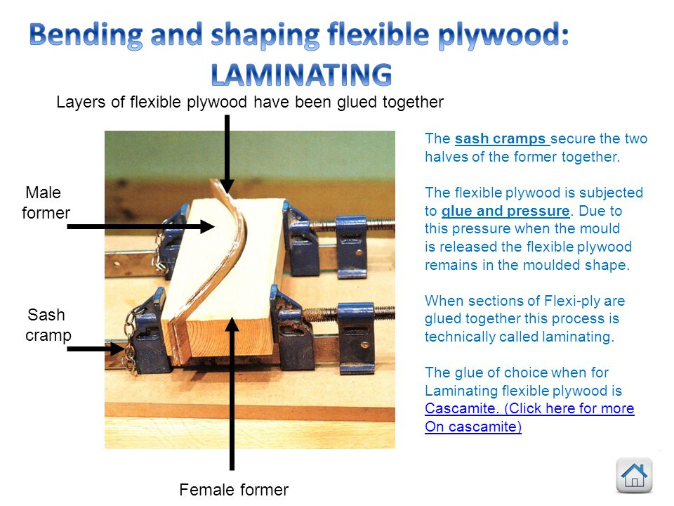 Bending and shaping flexible plywood: