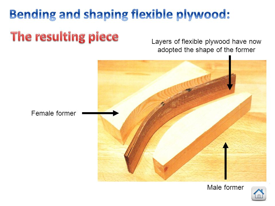 Layers of flexible plywood have now adopted the shape of the former