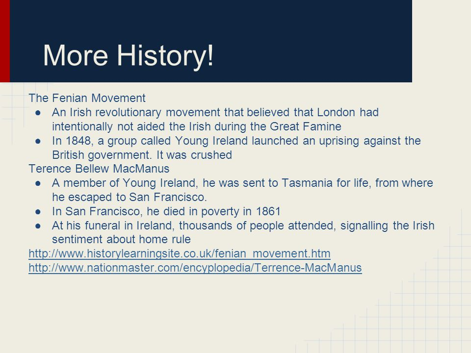 More History! The Fenian Movement