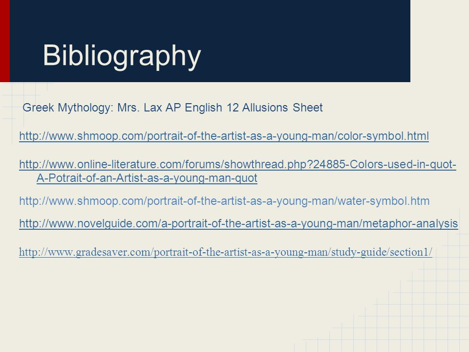 Bibliography Greek Mythology: Mrs. Lax AP English 12 Allusions Sheet