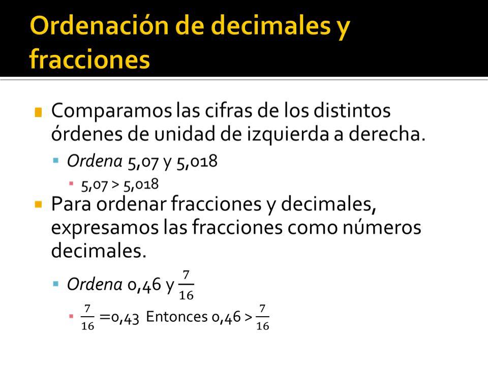 Ordenación de decimales y fracciones
