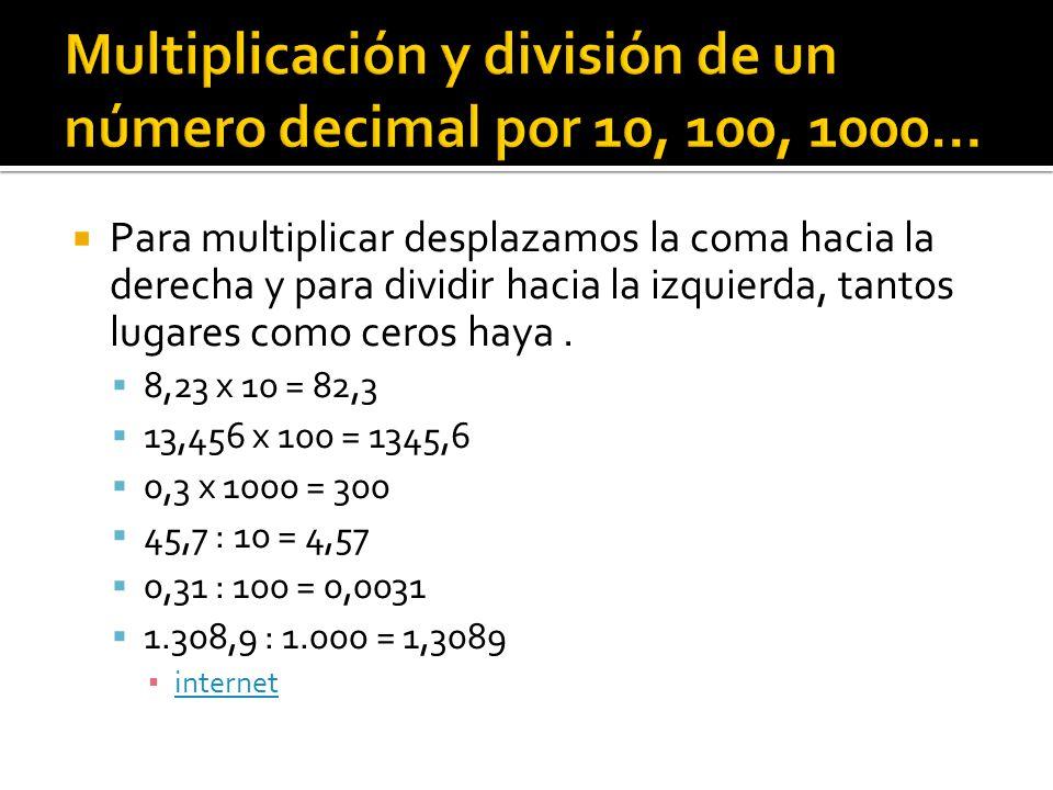 Multiplicación y división de un número decimal por 10, 100, 1000…