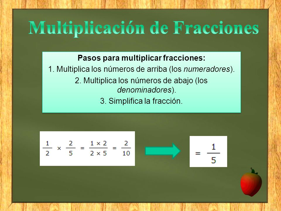 Multiplicación de Fracciones Pasos para multiplicar fracciones: