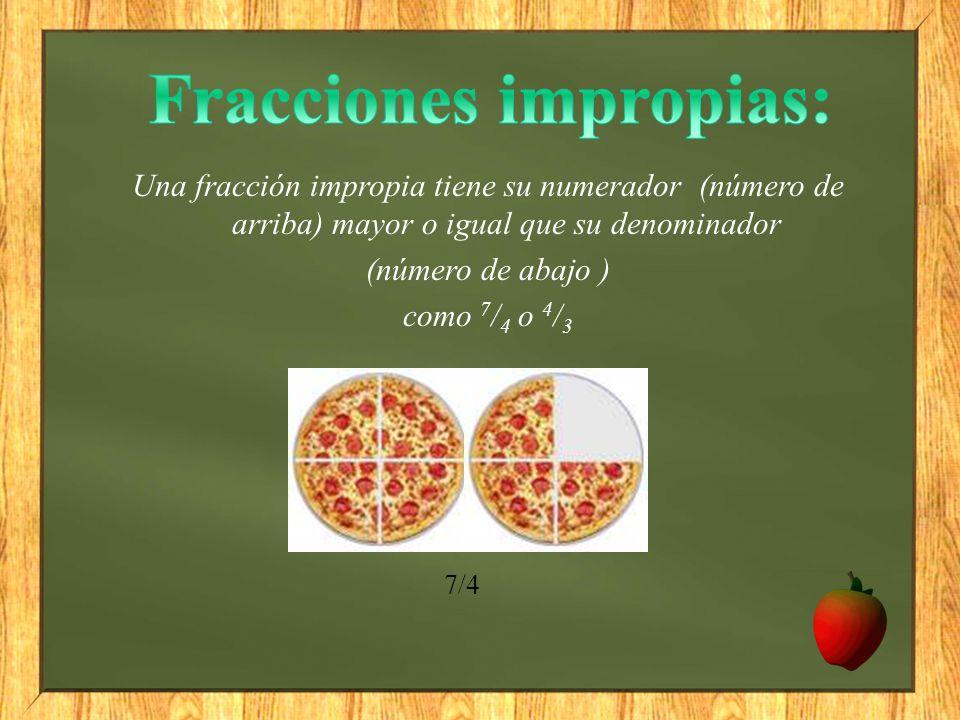 Fracciones impropias: