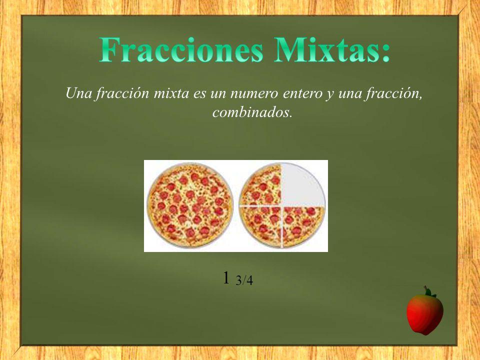 Una fracción mixta es un numero entero y una fracción, combinados.