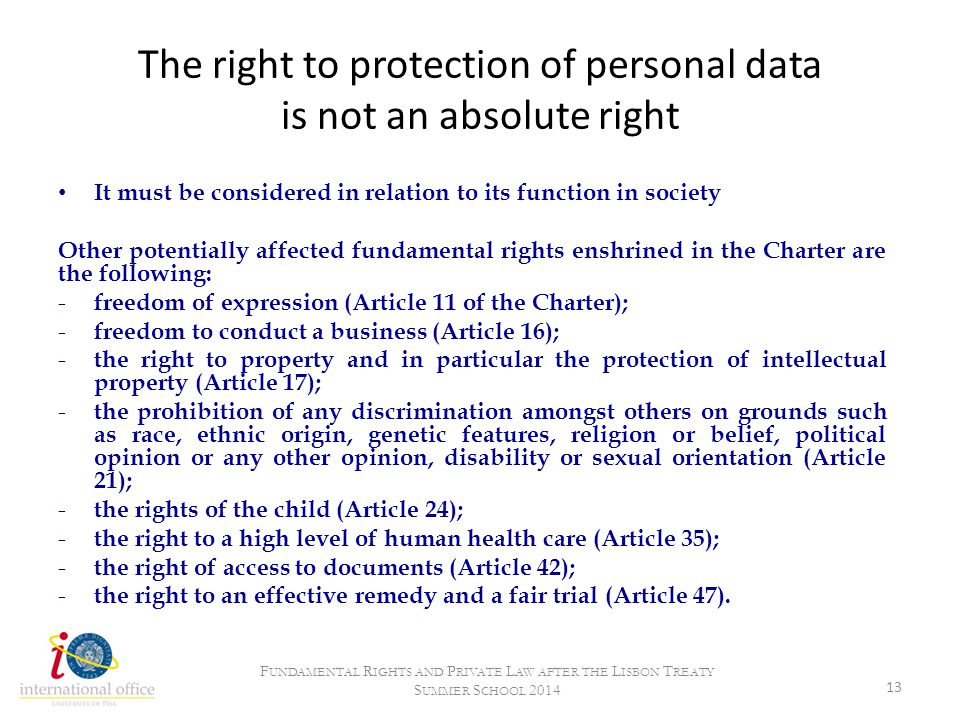 The right to protection of personal data is not an absolute right