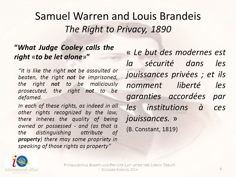 Samuel Warren and Louis Brandeis The Right to Privacy, 1890