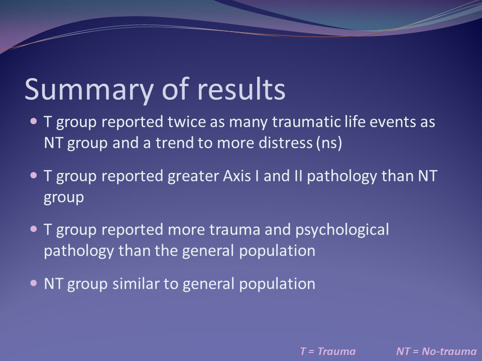 Summary of results T group reported twice as many traumatic life events as NT group and a trend to more distress (ns)