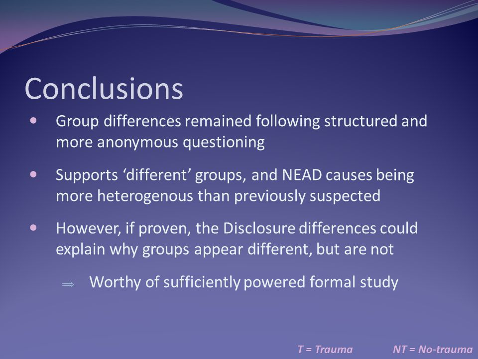 Conclusions Group differences remained following structured and more anonymous questioning.