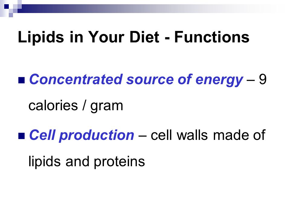 Lipids in Your Diet - Functions