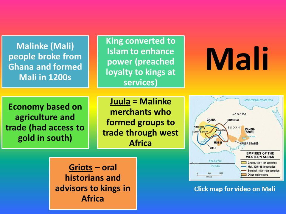 Malinke (Mali) people broke from Ghana and formed Mali in 1200s