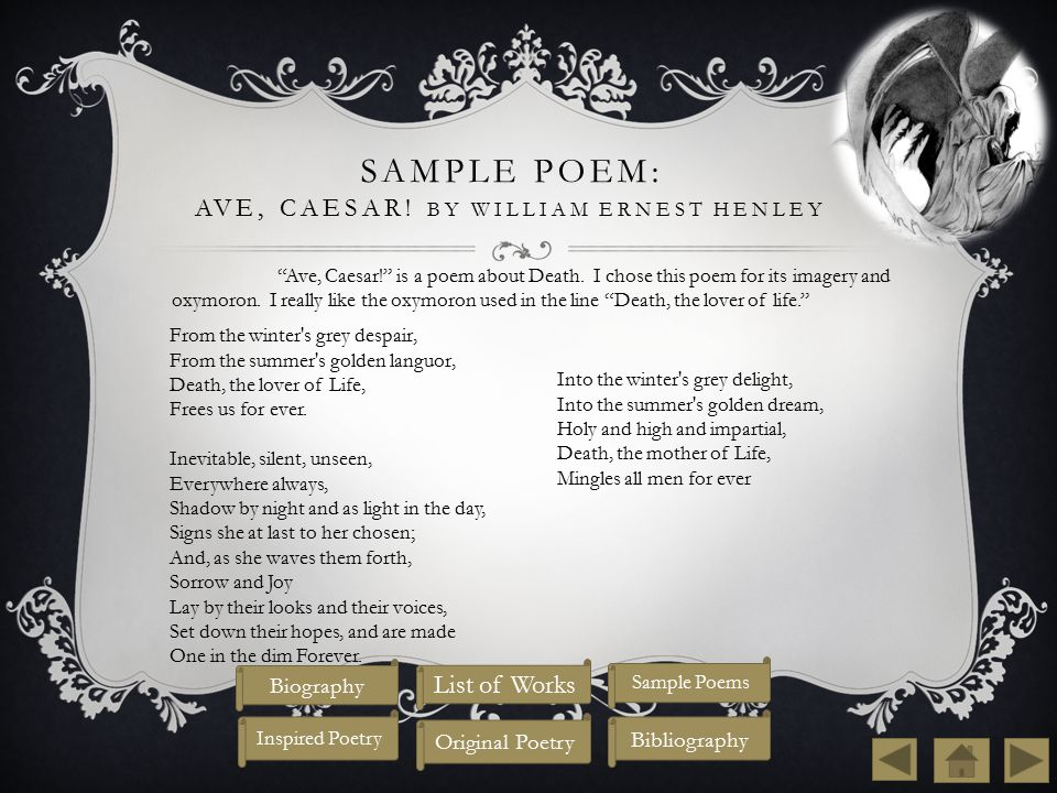 Sample Poem: Ave, Caesar! By William Ernest Henley
