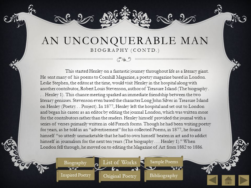 An Unconquerable Man Biography (contd.)