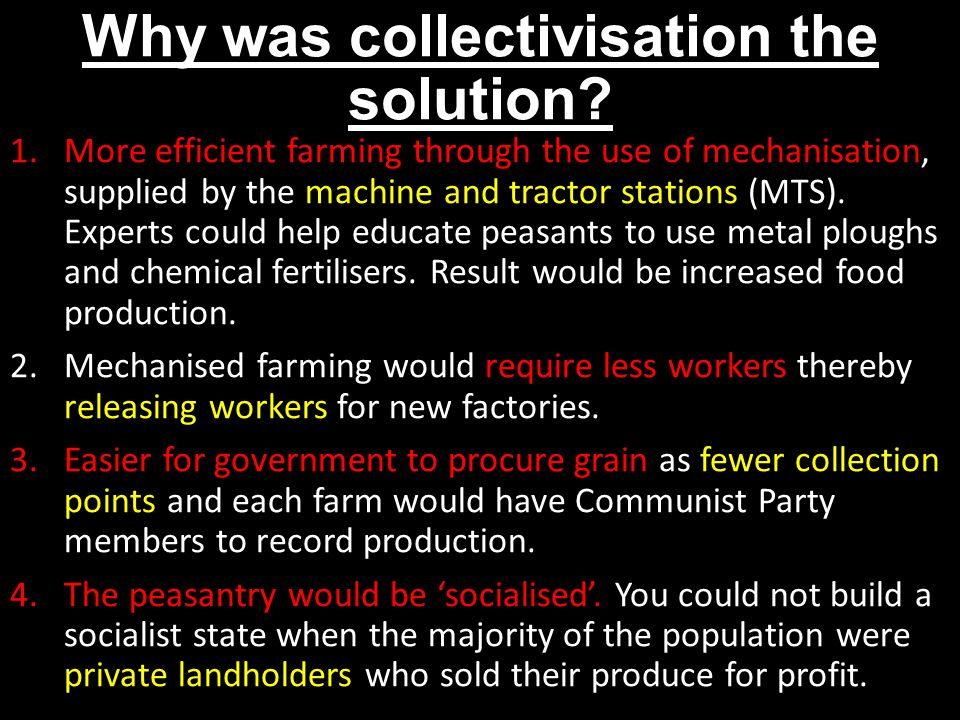 Why was collectivisation the solution