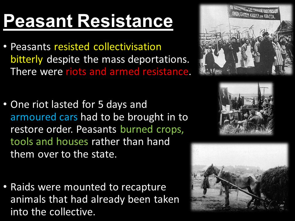 Peasant Resistance Peasants resisted collectivisation bitterly despite the mass deportations. There were riots and armed resistance.