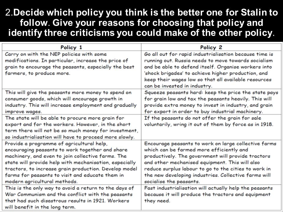 2.Decide which policy you think is the better one for Stalin to follow.