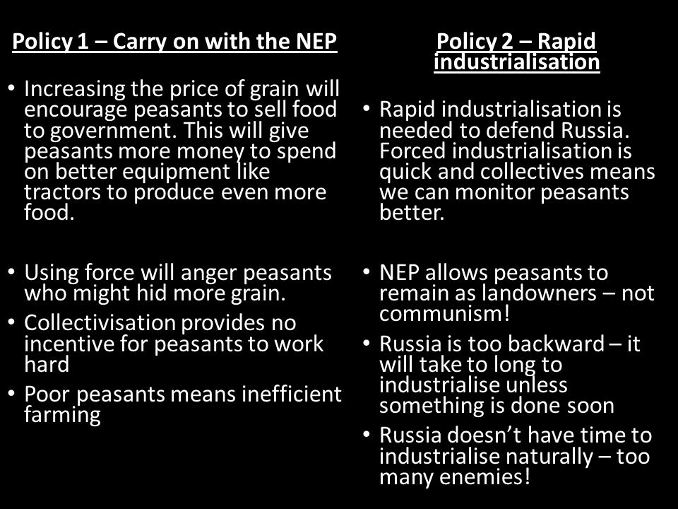 Policy 1 – Carry on with the NEP Policy 2 – Rapid industrialisation