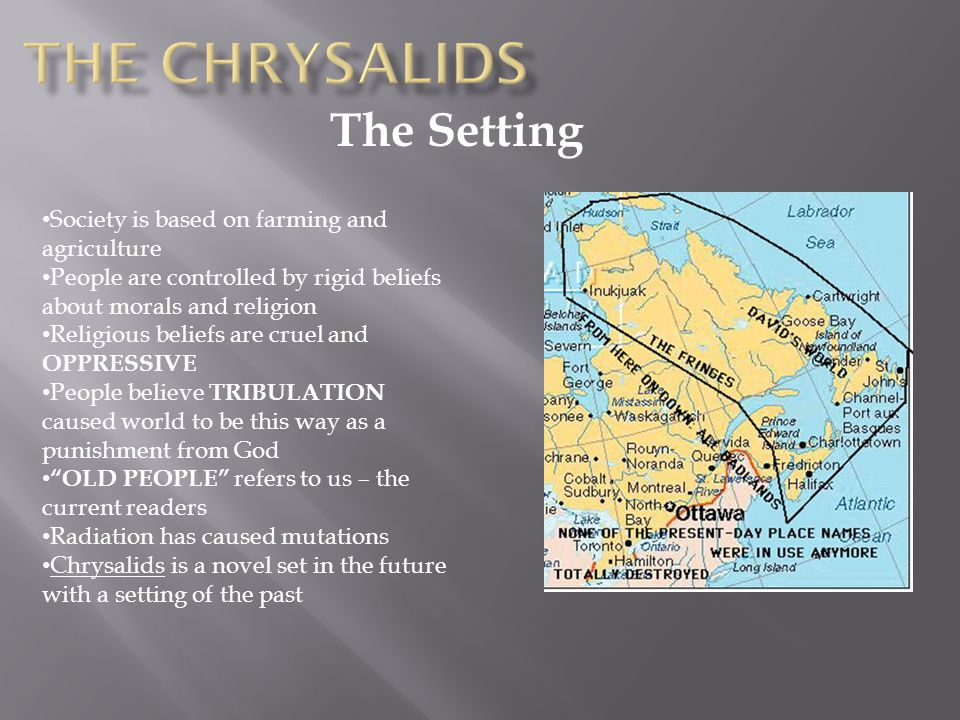 The chrysalids The Setting Society is based on farming and agriculture