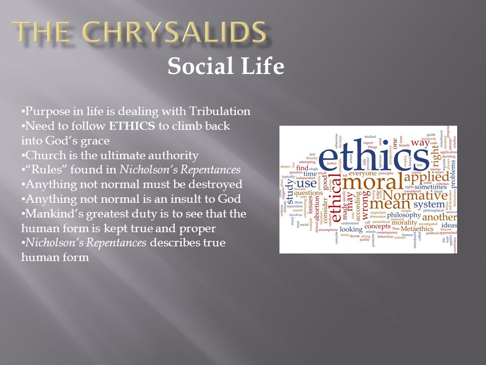 The Chrysalids Social Life Purpose in life is dealing with Tribulation