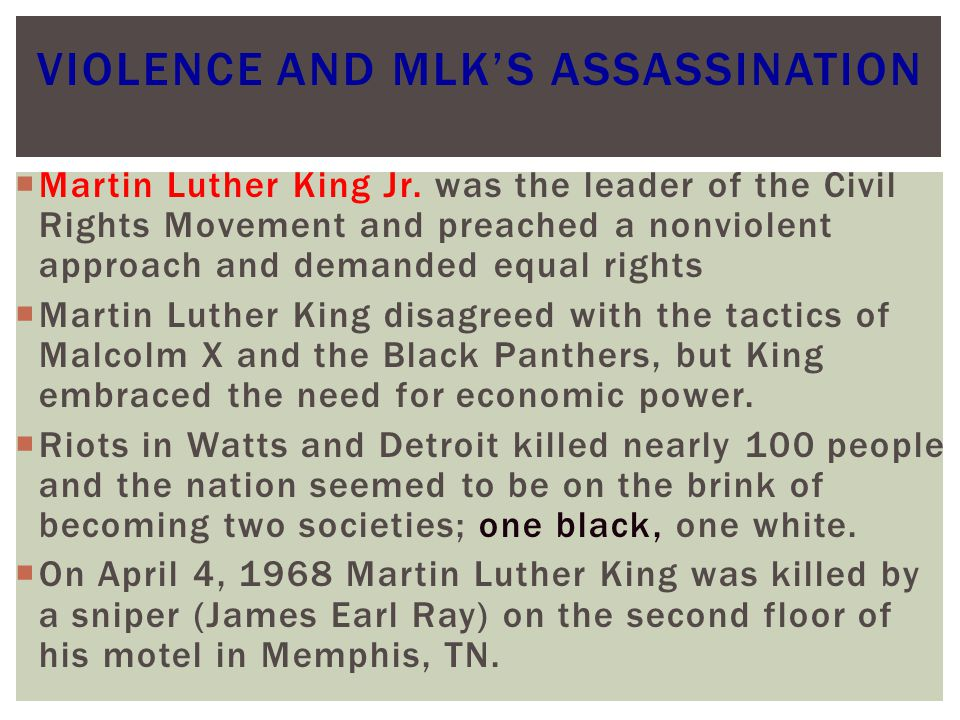 Violence and MLK's Assassination