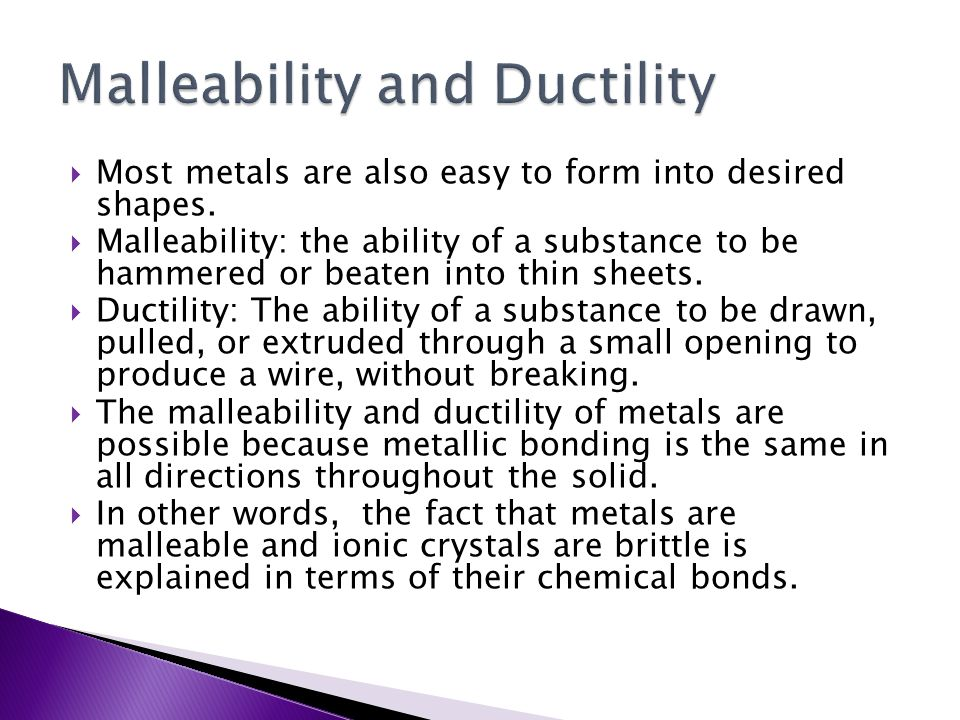 Malleability and Ductility