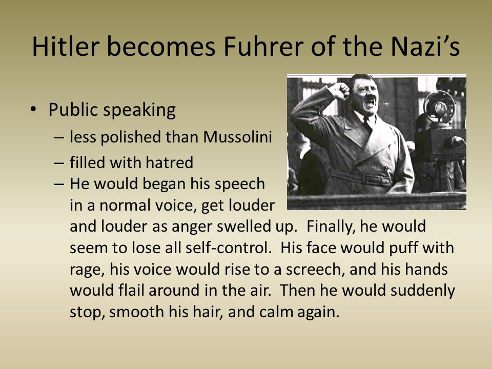 Hitler becomes Fuhrer of the Nazi's
