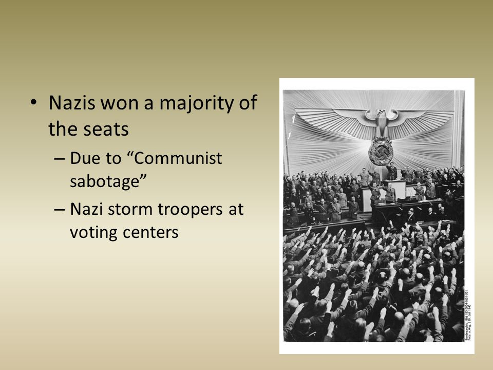 Nazis won a majority of the seats