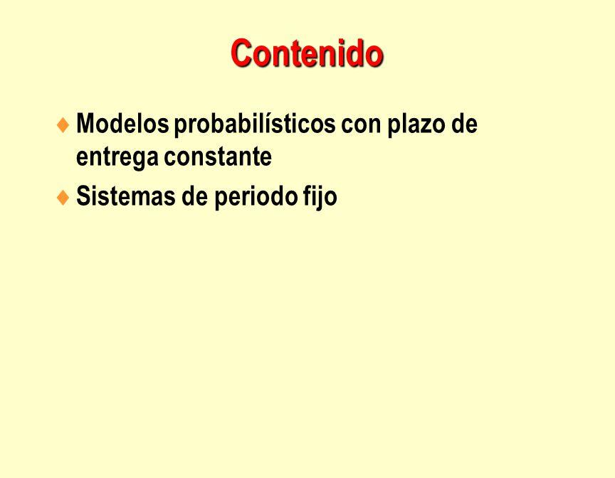 Contenido Modelos probabilísticos con plazo de entrega constante