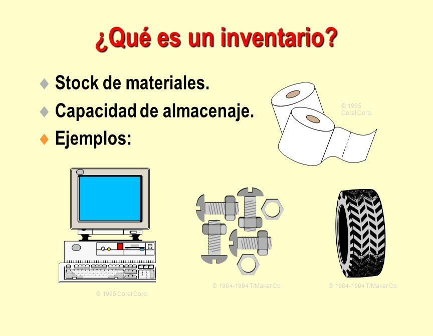 ¿Qué es un inventario Stock de materiales. Capacidad de almacenaje.