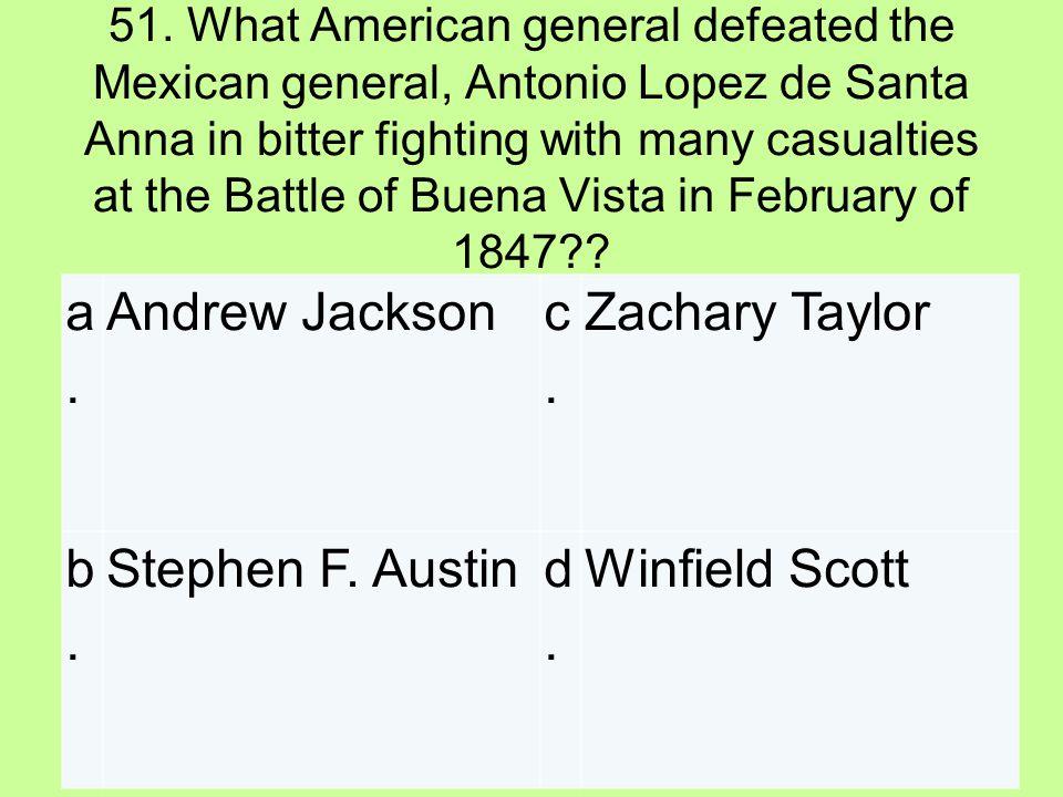 a. Andrew Jackson c. Zachary Taylor b. Stephen F. Austin d.