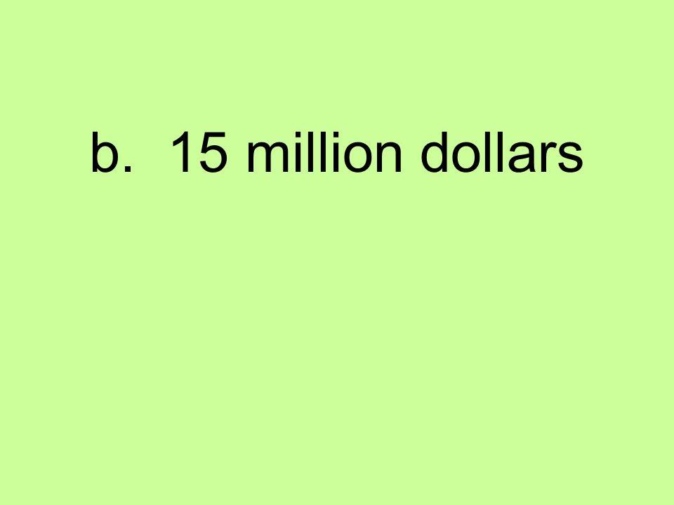 b. 15 million dollars