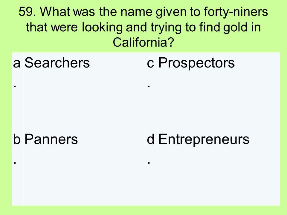 a. Searchers c. Prospectors b. Panners d. Entrepreneurs
