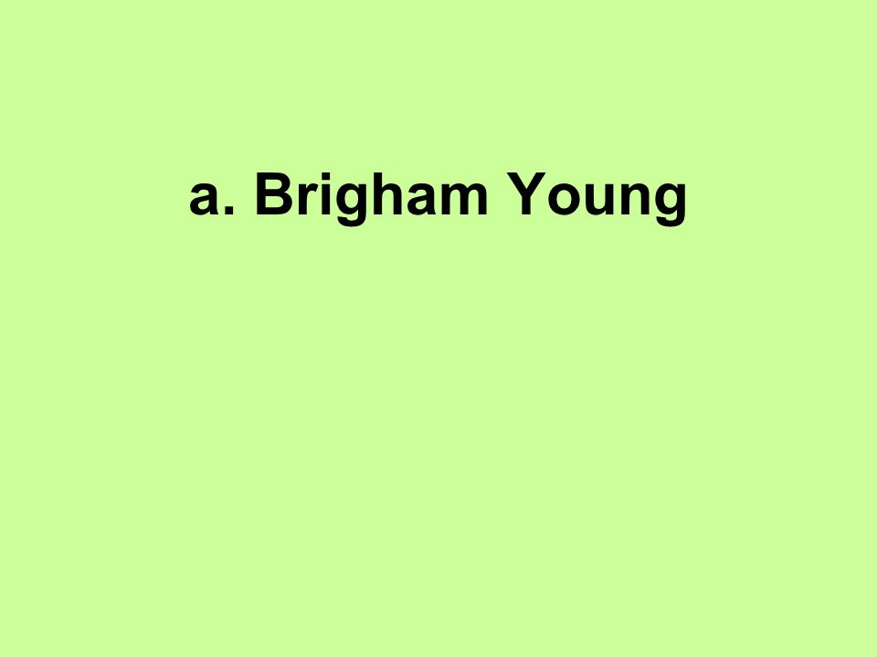 a. Brigham Young