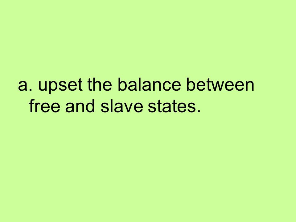 a. upset the balance between free and slave states.