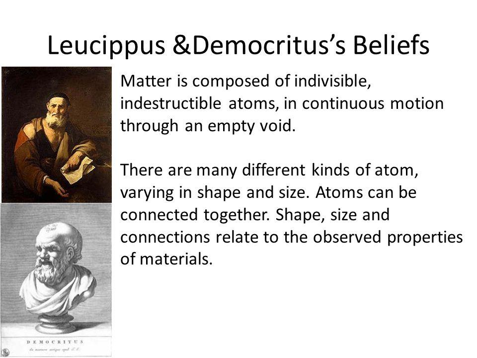 Leucippus &Democritus's Beliefs