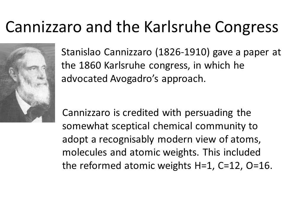 Cannizzaro and the Karlsruhe Congress
