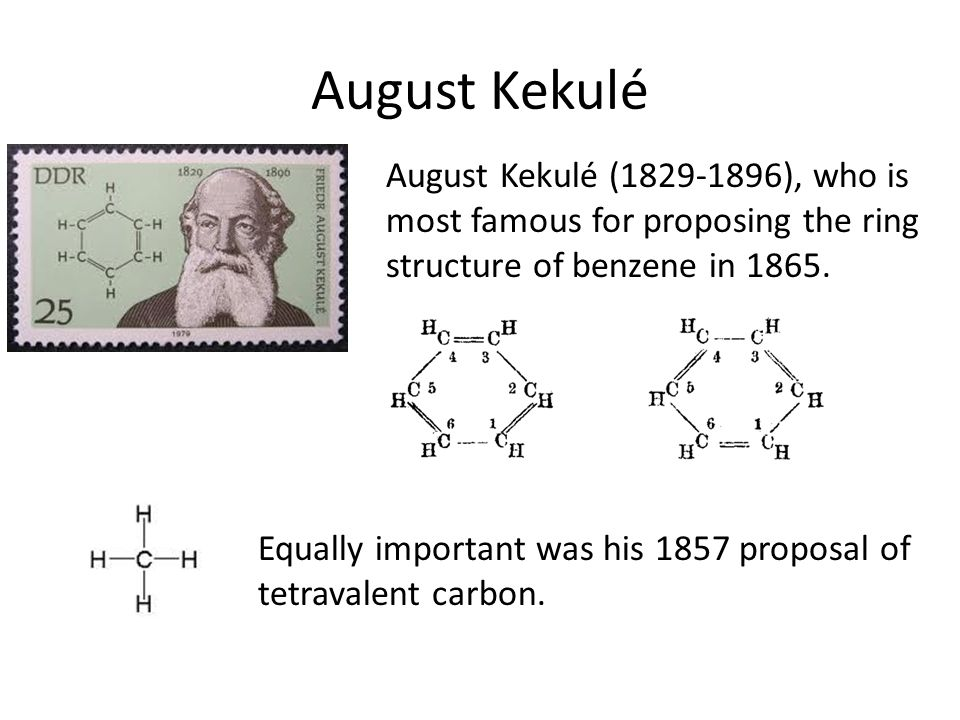 August Kekulé August Kekulé (1829-1896), who is most famous for proposing the ring structure of benzene in 1865.